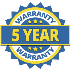 seal displaying 5 year warranty